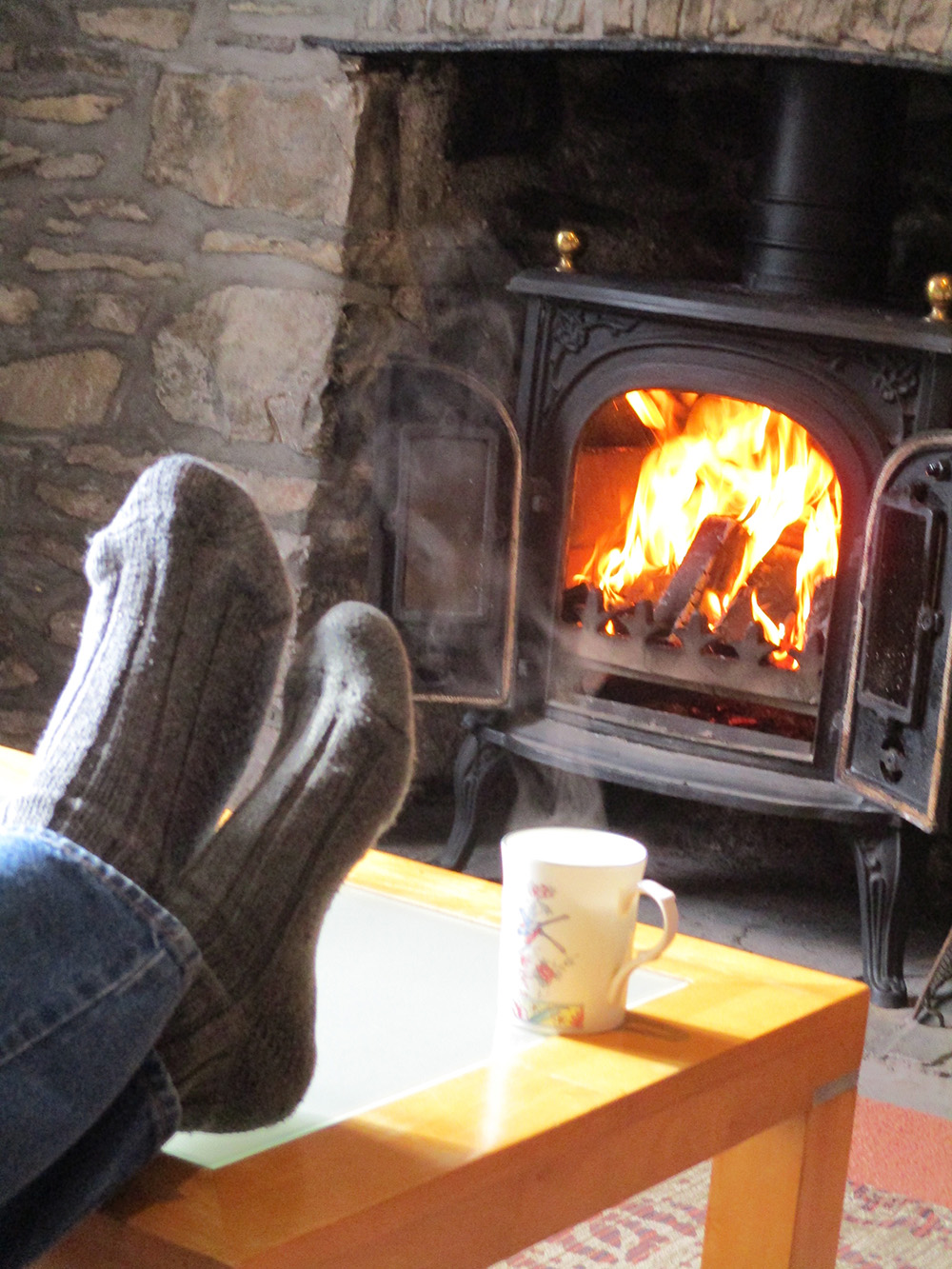 Relax with tea and fire